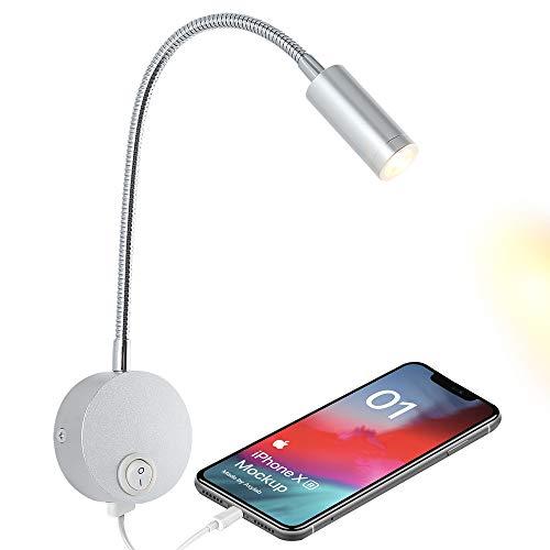 Lámpara de noche para leer con puerto de carga USB, lámpara LED de pared con cabecero, lámpara de pared flexible, acabado en níquel cepillado (3 W blanco cálido)