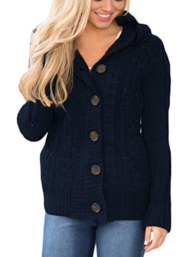 Sidefeel Women Hooded Knit Cardigans Button Cable Sweater Coat Large Navy