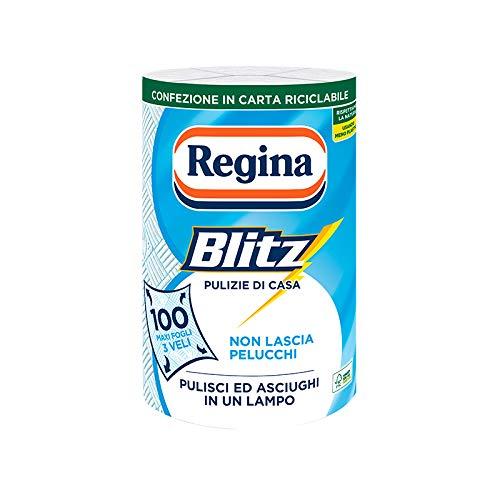 Regina Blitz Carta Casa | Confezione da 1 rotolo | 100 maxi fogli 3 veli | Confezione in carta riciclabile | Pulisci e asciughi in un lampo | Carta 100% certificata FSC