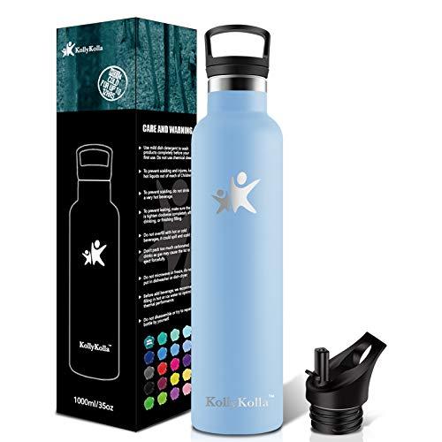 KollyKolla Botella de Agua Acero Inoxidable 1L, Termo Sin BPA Ecológica Frascos Térmicos Reutilizable, Botella Termica con Pajita y Filtro, Water Bottle Deporte, Gym, Yoga, Cámping, Macaron Azul