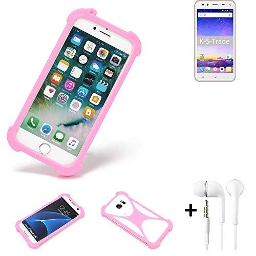 K-S-Trade Bumper + Kopfhörer Für Mobiistar XQ Dual Handyhülle Schutzhülle Silikon Schutz Hülle Cover Case Silikoncase Silikonbumper TPU Softcase Smartphone, Pink (1x)