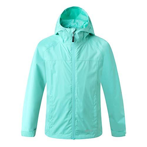 Amazon Marke: Eono Essentials Junior wasserfeste Jacke mit fester Kapuze (Pastellgrün, 140)|Windschutz jacke