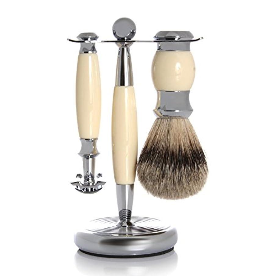 スタック素人親指GOLDDACHS Shaving Set, Safety razor, Finest Badger, white/silver