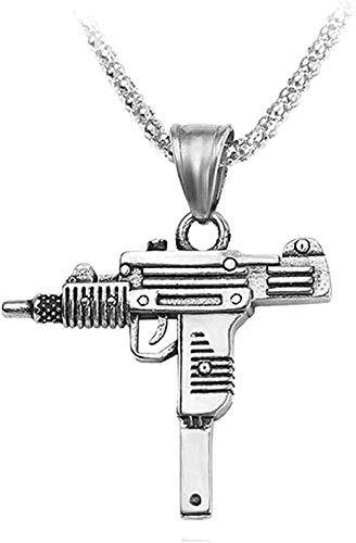 WSBDZYR Co.,ltd Collar de Moda Gun Cross Collares Pendientes Collar de Cadena de eslabones cubanos Largos para joyería de Hip Hop Unisex