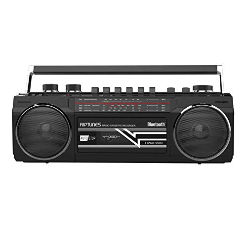 Riptunes Cassette Boombox, Retro Blueooth Boombox, Cassette Player and Recorder, AM/FM/SW-1-SW2 Radio-4-Band Radio, USB, SD, and Aux in, Black