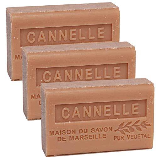 Savon De Marseille - French Seife Mit Organisch Sheabutter - Zimt Duft - Geeignet Für Alle Hauttypen - 125 Gramm Stangen - Set Von 3