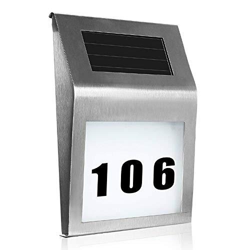 HENGMEI Solar beleuchtete Hausnummer mit 2 LED Solarhausnummer Solarleuchte Hausnummer LED Wandleuchte aus Edelstahl