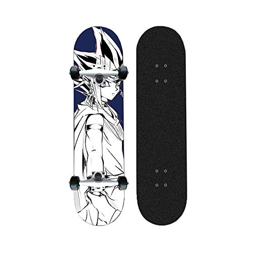 ZENGZENG Skateboards 31-Zoll-Tropfen-Through Downhill/Cruiser Freeride komplettes Deck Longboard Anime Brettoberfläche Duel Monster Pattern