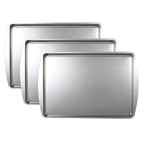 Baking Sheet 9x13 in. Steel Cookie Pans for Baking and Roasting - Durable, Oven-safe, Non-toxic, Easy to Clean, Commercial Quality, 3 Pack