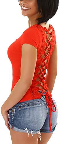 StyleLightOne Camiseta de verano sexy para mujer, espalda descubierta, encaje de ganchillo, elástico, (34-38) rojo 38