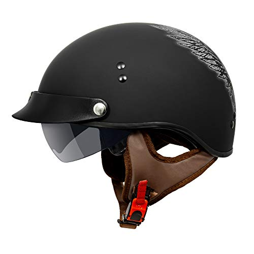 VCAN Cruiser Solid Flat Black Half Face Motorcycle Helmet with Drop-Down Sun Visor, Removable Peak and Quick Release Buckle (Skull, X-Large)
