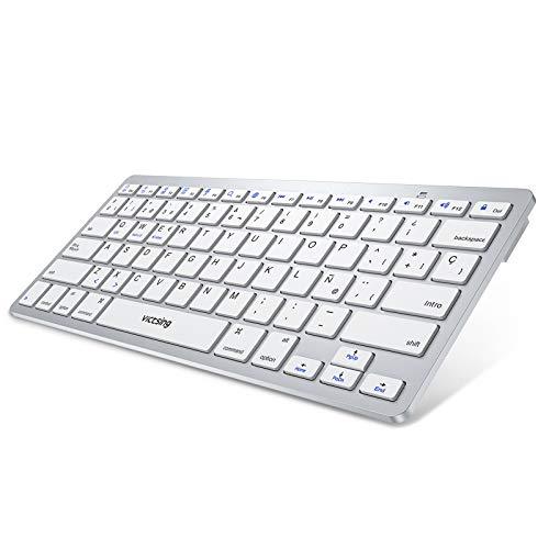 VicTsing Teclado Bluetooth, Teclado Inalámbrico, Diseño Ergonómico y Silencioso, ñ Teclado Ultra-Delgado Mini para Windows, Mac,...
