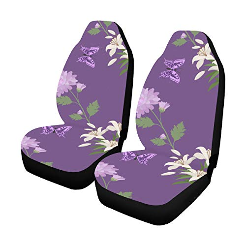 Lowest Prices! Universal Car Seat Covers Front Seats 2pc White Lilies Chrysanthemums Vehicle Seat Pr...
