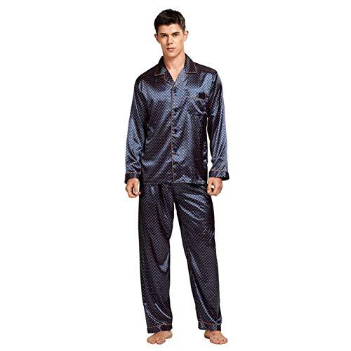 Home+ Schlafanzüge für Herren Herren gefärbte Seide-Pyjamas-Set-Pyjamas-sanfter und bequemer Satin-Pyjamas für Männer (Color : E, Size : XL)