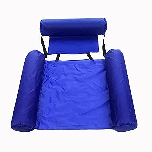 WULOVEMI Respaldo Plegable Fila Flotante Cama Flotante Cama Flotante Agua Inflable Reclinable Natación 120 * 100 cm Azul (Color : Blue, Size : 120 * 100cm)