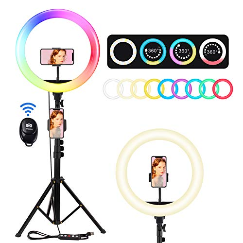 "12"" Selfie Ring Light with Adjustable Tripod Stand and 2 Phone Holders, Upgraded Dimmable RGB Selfie Ring Light Kit with Bluetooth Remote Dynamic Flash Modes for Photography, Live Stream & Make Up"