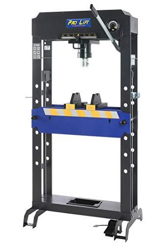 Pro-Lift-Werkzeuge 2462 Hydraulikpresse 50t Werkstattpresse Industriepresse manuell + pneumatisch 8 Druckstücke Druckluftpresse blau Rahmenpresse Handpumpe umformen Shop-Press Abkantpresse 50000kg
