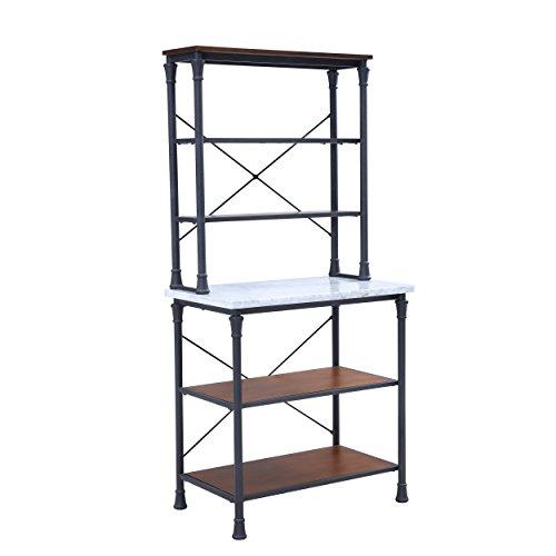 Furniture HotSpot Metal Bakers Rack – Industrial Backers Stand – Metal Frame w/Shelves (Black Frame w/Marble Shelf)