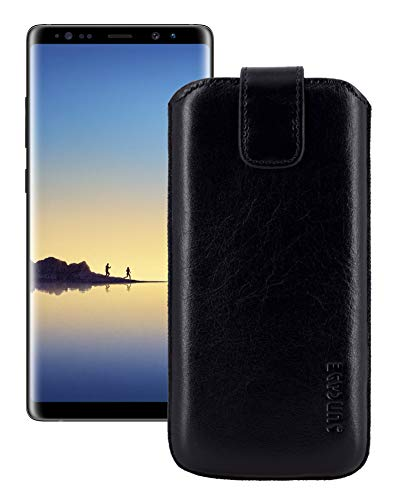 Suncase Etui Tasche für Samsung Galaxy Note 8 | mit ZUSÄTZLICHER Hülle/Schale / Lasche mit Rückzugfunktion + Zwei Kartenfächer Ledertasche Schutzhülle Hülle in schwarz
