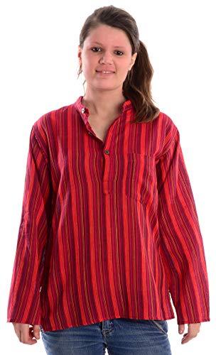 HEMAD Fischerhemd Baumwoll-Hemden Kurta Hemd S-XXXL gestreift, Rot Gestreift, 3XL