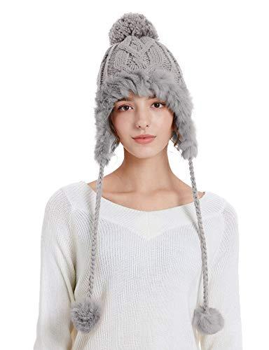 SunriseMall Women Winter Skull Beanie Hat with Pompoms, Soft Faux Fur Knit Warm Ski Cap Fleece Ear Flaps Grey