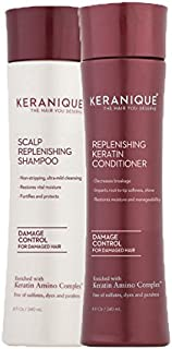 Keranique Damage Control Shampoo and Conditioner Set for Hair Growth and Thinning Hair | Keratin Hair Treatment | Keratin Amino Complex, Free of Sulfates, Dyes and Parabens, 8 Fl Oz