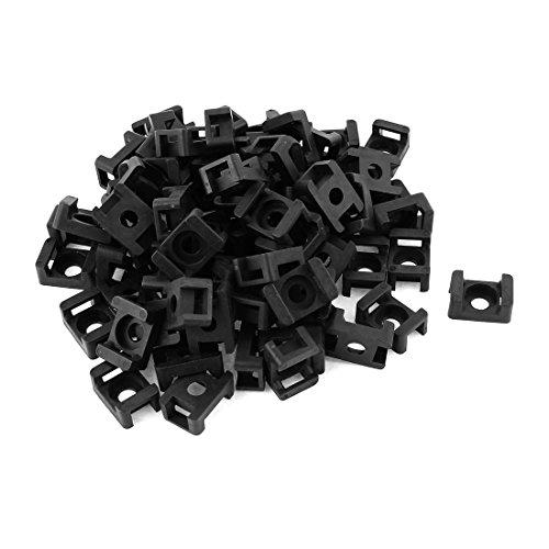 Sourcingmap/® Buddle Alambre de una Silla de Tipo Tornillo Fija la Atadura de Cables Soporte de Montaje Base Negra 100 PCS