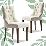 Finch Elmhurst Modern Button-Tufted Dining Chair, Elegant High Back Upholstered Fabric Accent, Set of Two, Cream
