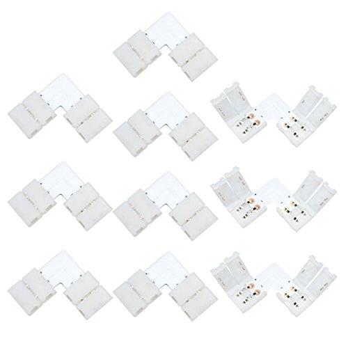 Liwinting 10 Piezas 2 Pin L Forman el Ajuste Sin Soldadura Abajo Conector de Tiras de LED de 2 Patillas para ángulo Recto o 90 ángulos de Conexión de de 10 mm de Ancho SMD 5050 5630 Tiras de LED