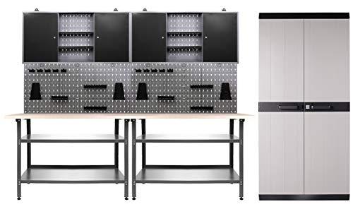 Ondis24 Werkstatteinrichtung 330x60x205 (H) cm, Arbeitshöhe 85 cm, mit MEGA XL Schrank, bestehend aus 2 x Werkbank, 2 x Werkzeugschrank, Euro-Lochwand mit 22 Haken, Metall, Justierfüße, abschließbar