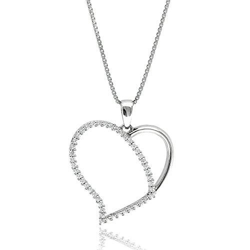Gioiello Italiano - Zilveren ketting met hartvormige hanger