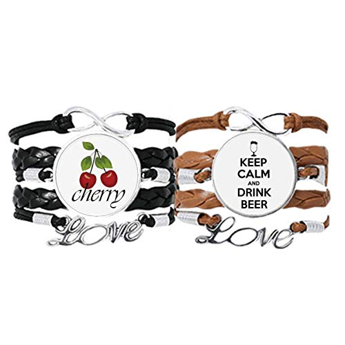 Quote Keep Calm and Drink Beer Bracelet Hand Strap Leather Rope Cherry Love Wristband Double Set