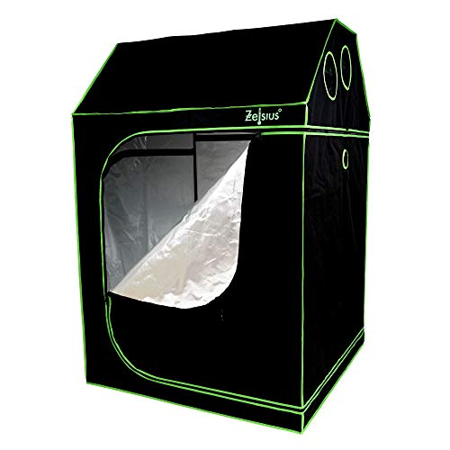 Zelsius Grow tent MyHomeGrow for sloping attic | Indoor Growing kit | black green | hydroponics Growroom Darkroom Greenhouse (120 x 120 x 180 cm)