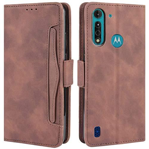 HualuBro Handyhülle für Motorola Moto G8 Power Lite Hülle Leder, Flip Hülle Cover Stoßfest Klapphülle Handytasche Schutzhülle für Motorola Moto G8 Power Lite Tasche (Braun)