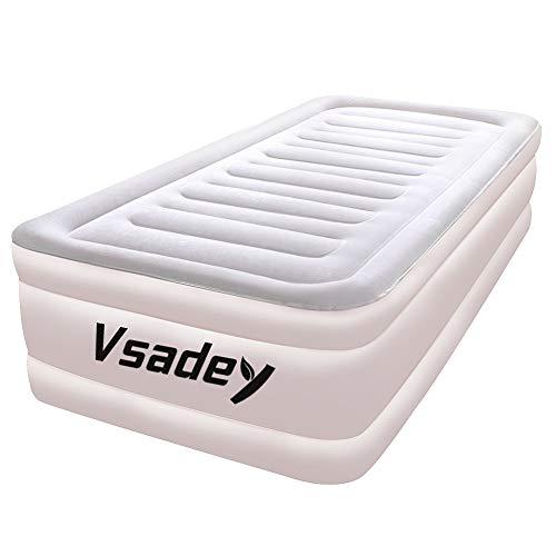 エアーベッド Vsadey シングルサイズ 幅203x99x46cm エアーマット 電動ポンプ内蔵 PVC厚さ0.45mm+フロッキング厚さ0.2mm 空気ベッド お昼寝 (シングル)