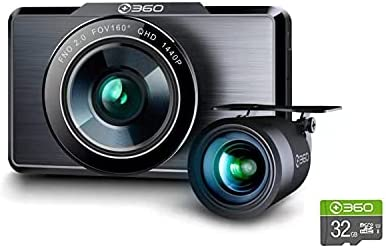 360 G500H Premium 2K Dual Dash Cam, 2560x1440P Front, 1920×1080 Rear Camera, 160° Wide Angle, Color Night Vision, 24hr Motion Detection Parking Mode, Loop Recording, G-Sensor, with 32G SD Card