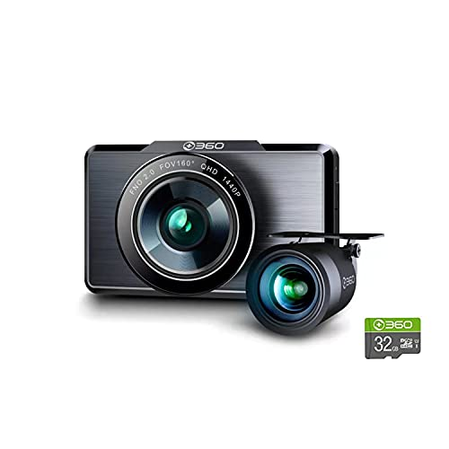 360 G500H Premium 2K Dual Dash Cam, 2560x1440P Front, 1920x1080 Rear Camera, 160° Wide Angle, Color Night Vision, 24hr Motion Detection Parking Mode, Loop Recording, G-Sensor, with 32G SD Card