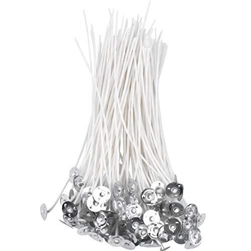 Kerzendocht, 100 Stück Flachdocht Kerzendocht mit Dochthalter, Candle Wick Teelichtdochte mit Fuß, Natürlichen Vorgewachste Kerzendochte, Gewachst Kerzendochte für Kerzenherstellung Kerze DIY, 15 cm