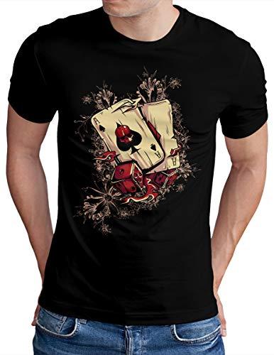 OM3® Gambling-Hell-Skull-Cards T-Shirt - Herren - Las Vegas Poker Casino - Schwarz, L