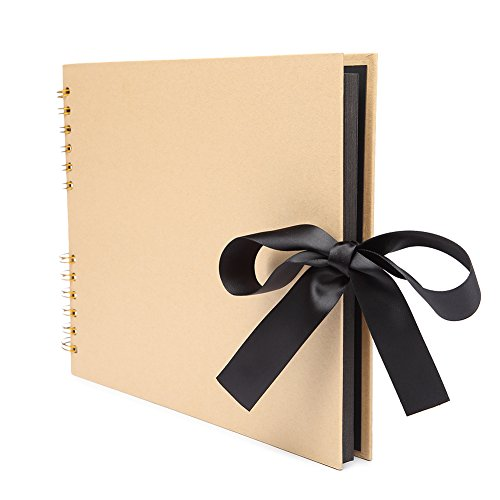 VEESUN Album de Fotos Scrapbook, 80 Páginas Negras (40 Hojas), DIY Scrapbooking Album Original para Aniversario de Boda de Oro Cumpleaños Navidad para Mujer Niña Novios Novia Amiga Regalos, Amarillo