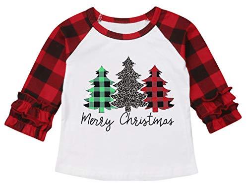 UNIQUEONE Baby Girls Boys Merry Christmas T-Shirt Christmas Truck Tree Print Tops Long Sleeve Raglan Tee (Red, 3-4Years/Tag120)
