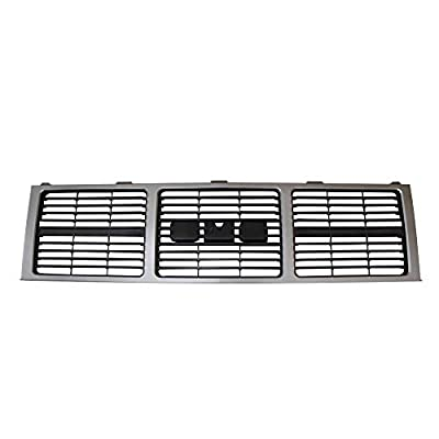 Perfit Liner New Front Silver Gray Grille Grill Replacement Dual Lamp Compatible With GMC C10 C/K 1500 2500 3500 Pickup Truck Jimmy Suburban SUV Fits Dual Head Lamp Model GM1200401 15554913