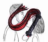 CareUToo Manico per Imbracatura per Frusta equestre in Nappa in Pelle da Equitazione per Accessori per Costumi di Carnevale di Halloween Cosplay