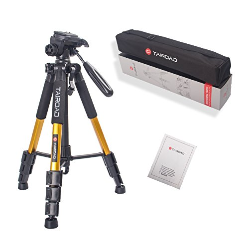 """Tairoad T1-111 Tripod 55"""" Aluminum Lightweight Sturdy Camera Tripod Portable for Travel with 3-Way Swivel Pan Head for DSLR EOS Canon Nikon Sony Samsung Max Capacity 11lbs (Gold)"""