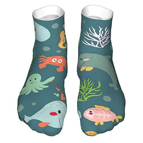 YOUPENG Calcetines de compresión clásicos de tiburón y Ballena submarinos Calcetines Deportivos Largos y Gruesos para Hombres y Mujeres de 11,8 Pulgadas (30 cm)