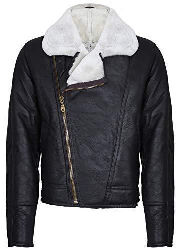 Infinity Leather Hombres Aviador Cruz Jengibre Zip Shearling Piel de Oveja Marrón Chaqueta de Cuero