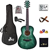WINZZ HAND RUBBED Series - Left Handed 36 Inches 3/4 Acoustic Guitar Travel Bundle with Bag, Metronome Tuner, Wall-mounted Hanger, Strap, Picks & Cleaning Cloth, Dark Hunter Green