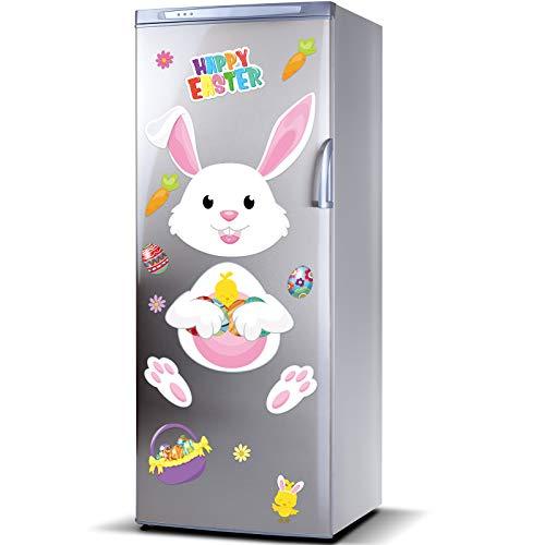 16 Pieces Happy Easter Bunny Refrigerator Magnets Fridge Magnet Sticker Bunny Easter Egg Magnet Sticker Easter Decoration for Easter Party Decor Home Kitchen Door Cabinet