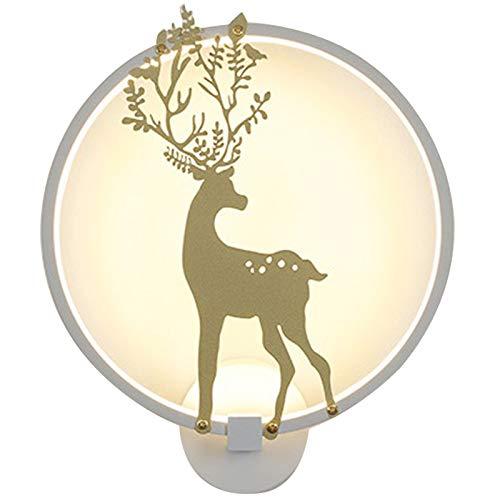 Camisin Lámpara de pared redonda de 3000 K con luz LED de ciervo pintada para decoración moderna del hogar/dormitorio blanco 30 cm