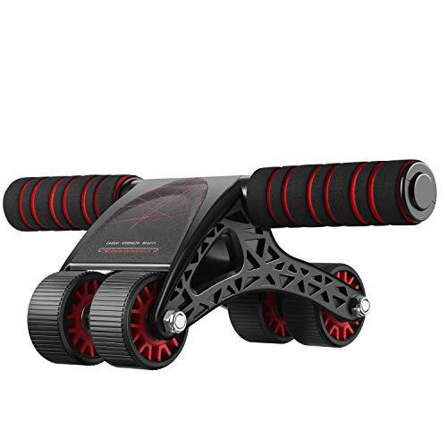 ANCHEER - Rueda abdominal para ejercicio, fitness, con alfombrilla de rodillas y cuerda de fitness, ideal para hombres y mujeres en casa